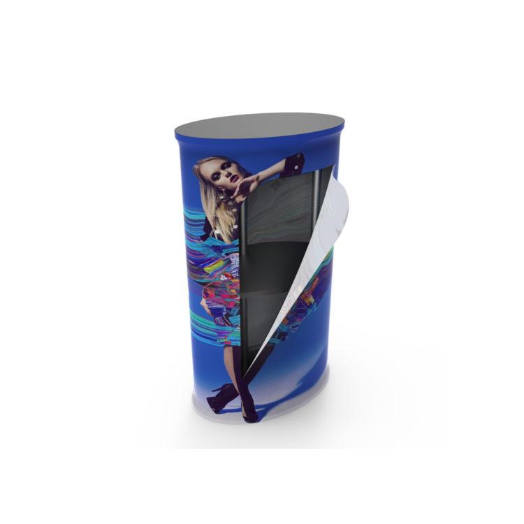 Tex Wave Counter com fecho e vista do interior com colocação de prateleira